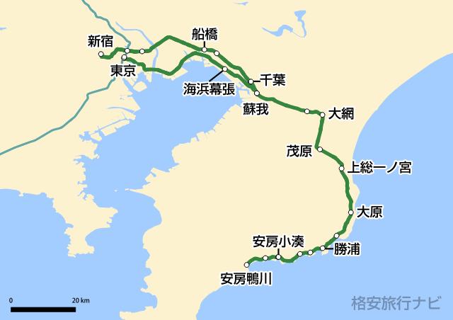 特急わかしお・新宿わかしお路線図