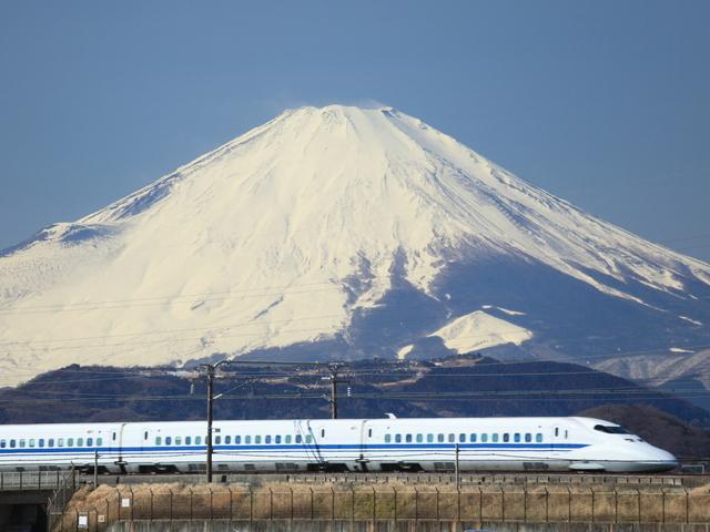700系新幹線と富士山
