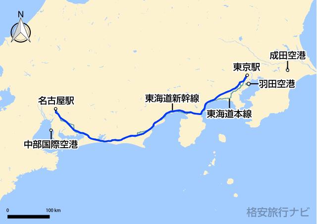 東京〜名古屋の地図
