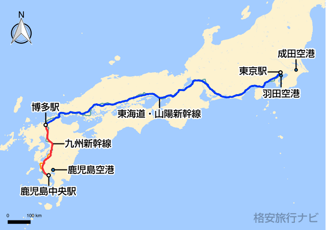 東京〜鹿児島の地図