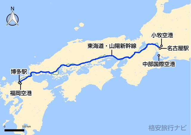 名古屋〜福岡の地図
