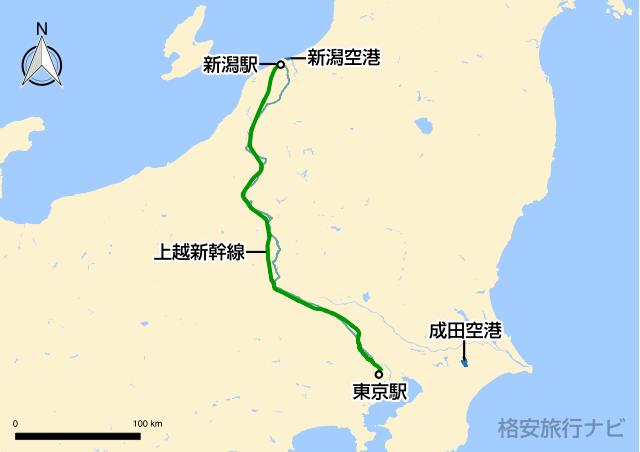 東京〜新潟の地図