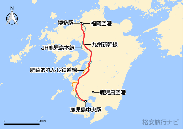 福岡〜鹿児島の地図