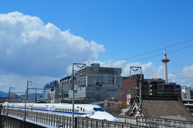 新幹線と京都タワー