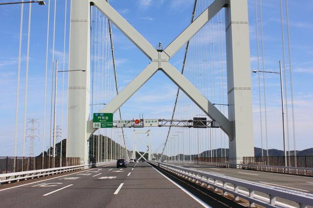 関門橋を通過中