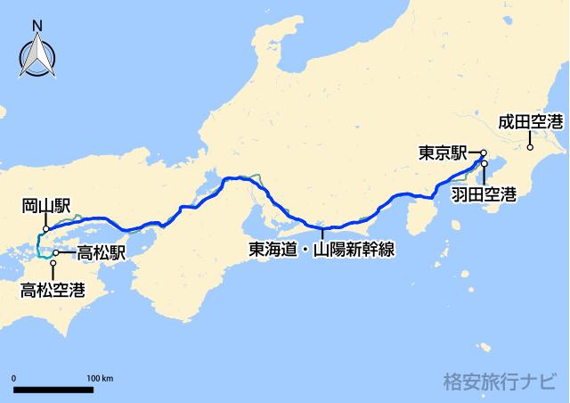 東京〜高松の地図