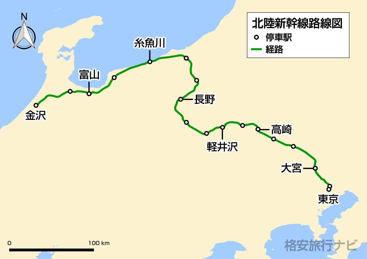 北陸新幹線路線図