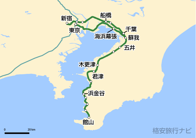特急さざなみ・新宿さざなみ路線図