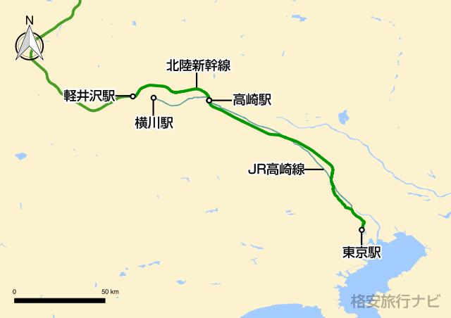 東京〜軽井沢の地図