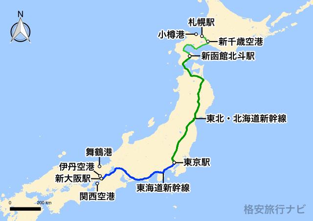 大阪〜札幌の地図
