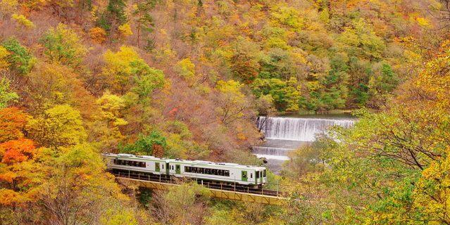 紅葉と滝と列車