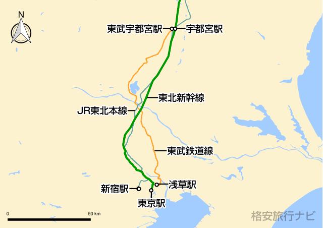 東京〜宇都宮の地図