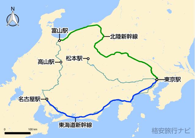 東京〜飛騨高山の地図