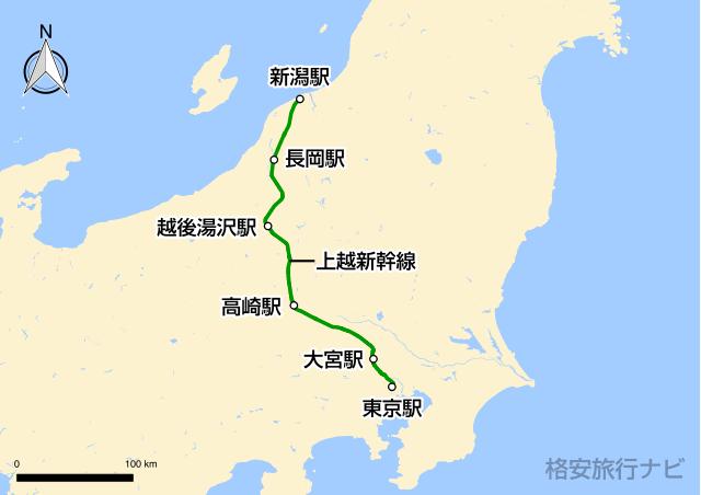上越新幹線の路線図