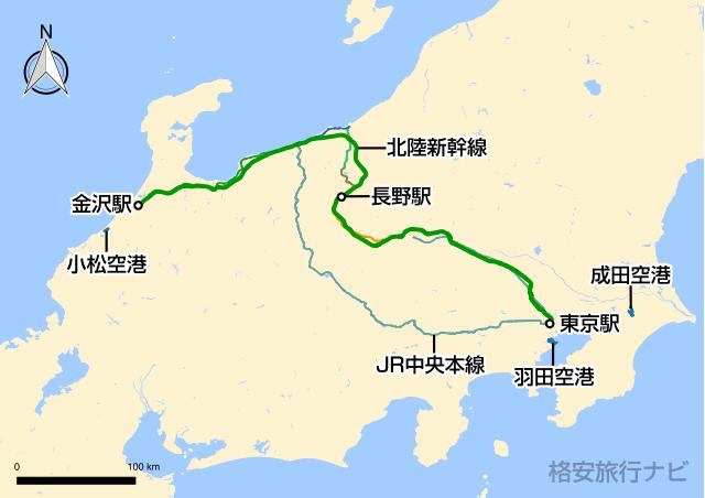 東京〜金沢の地図