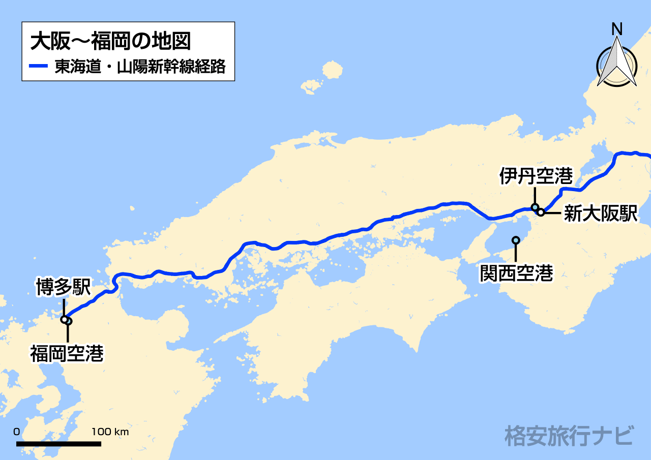 大阪〜福岡の地図