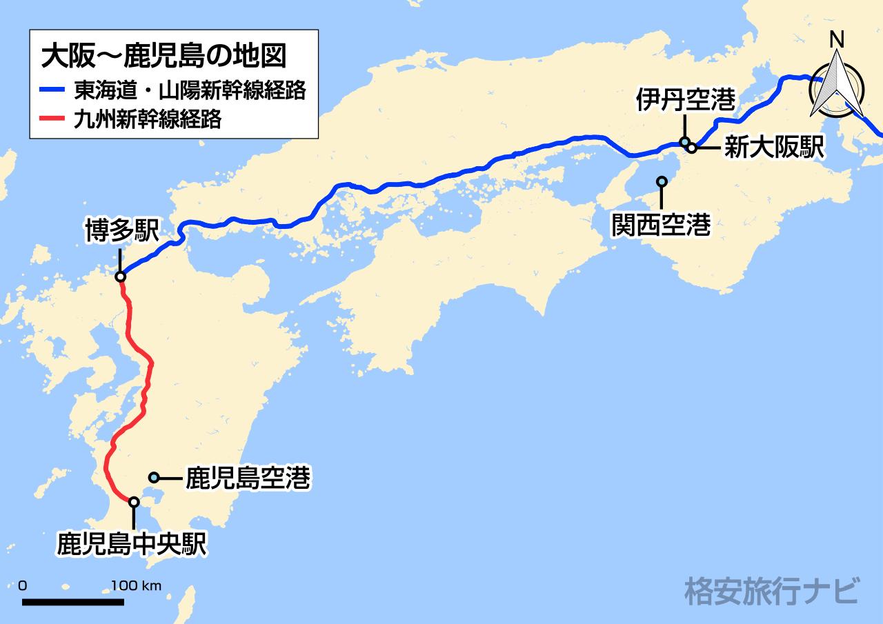 大阪〜鹿児島の地図