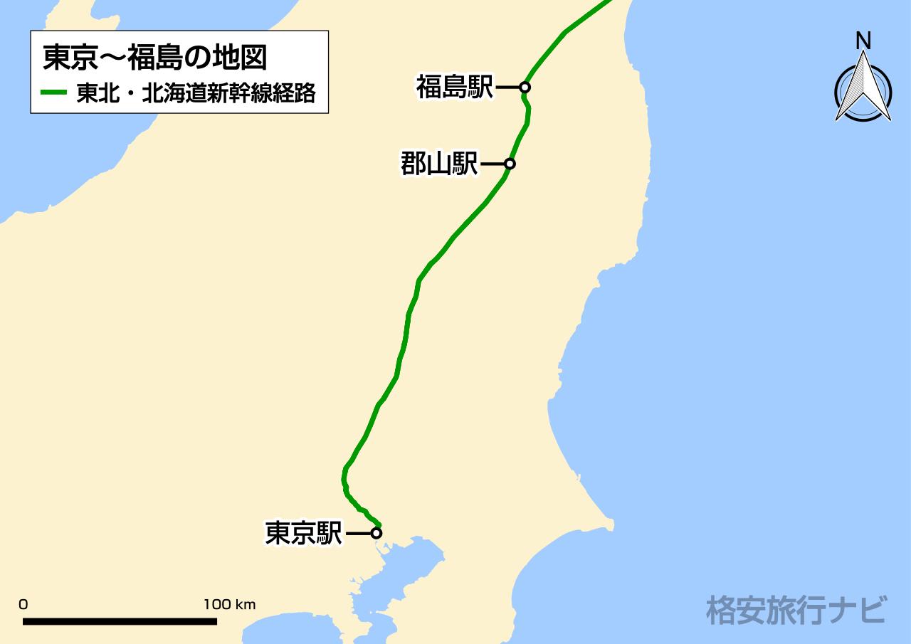 東京〜福島の地図